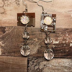 Vintage handmade computer motherboard earrings for sale